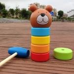 ค้อนตอกตึกหมีน้อย ของเล่นไม้ทาวเวอร์สีรุ้ง