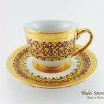 ของที่ระลึก แก้วกาแฟเบญจรงค์ ทรงกลมเบญจรงค์ทองลวดลายดอกเข็ม ลายเนื้อนูนเคลือบเงา