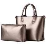[ พร้อมส่ง Hi-End ] - กระเป๋าแฟชั่น ถือ&สะพาย Set 2 ชิ้น สีบรอนซ์ประกายทอง ใบใหญ่ + กระเป๋าใบกลาง ดีไซน์สวยเรียบหรู ไม่ซ้ำแบบใคร งานหนังคุณภาพอย่างดี