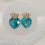 ต่างหูรูปหัวใจ มงกุฏ สีฟ้า (Blue Heart Earing)