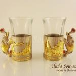 ของขวัญปีใหม่ แก้วเป็กแบบคู่ ลวดลายเอกลักษณ์ของไทย ลายสามมิติสีทองตัดสีบลอน