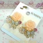 ต่างหูกุหลาบชมพูกับผีเสื้อประดับเพชร (Pink Rose & Butterfly Earrings)