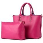 [ พร้อมส่ง Hi-End ] - กระเป๋าแฟชั่น ถือ&สะพาย Set 2 ชิ้น สีชมพูบานเย็น ใบใหญ่ + กระเป๋าใบกลาง ดีไซน์สวยเรียบหรู ไม่ซ้ำแบบใคร งานหนังคุณภาพอย่างดี