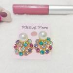 ต่างหูมุก & คริสตัลหลากสี สวย หวาน (Colorful Pastel Earnings)
