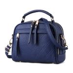 [ พร้อมส่ง ] - กระเป๋าแฟชั่น สไตล์เกาหลี สีน้ำเงินเข้ม ใบกลาง ทรงขอบโค้งตั้งได้ ดีไซน์งานสวยเรียบหรู สาวๆห้ามพลาด