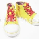 รองเท้าเด็ก รองเท้าผ้าใบหุ้มข้อ มีซิปข้าง สีเหลือง ขนาด 15cm