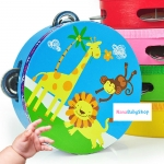 แทมบูริน ของเล่นไม้ เคาะจังงหวะ สำหรับเด็ก การ์ตูนคละลาย - Tambourine musical educational toy