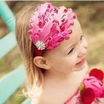 ผ้าคาดผมเด็กขนนก Princress สีชมพูประดับคริสตัล