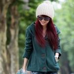 (Pre-order)เสื้อคลุมแขนยาวมี hood ผ้าสำลี อุ่นมากค่ะ พร๊อพเกาหลี เก๋มาก สีเขียว