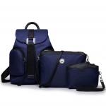 [ พร้อมส่ง ] - กระเป๋าเป้แฟชั่น สไตล์เกาหลี Set 3 ชิ้นคุ้ม สีน้ำเงินเข้ม ใบกลางสะพายหลัง ดีไซน์สวยเก๋ ผ้าร่มน้ำหนักเบา พกพาสะดวก เท่ๆ