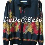 ขายแล้วค่ะ T49:Vintage top เสื้อวินเทจสีดำลายดอกไม้แจ่มๆ&#x2764