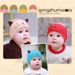หมวกเด็กอ่อน ผ้ายืด Cotton100% รูปแมวเหมียว สำหรับเด็ก 3-24 เดือน