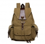 [ พร้อมส่ง ] - กระเป๋าเป้ ผู้ชาย-หญิง ดีไซน์เก๋เท่ ๆ สีกากี ใบใหญ่จุใจ ช่องใส่ของเยอะ ใส่ หนังสือ และ I-Pad ได้ เหมาะสำหรับพกพา เดินทางท่องเที่ยว
