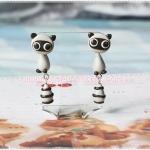ต่างหูดินปั้น Cutie Raccoon Earrings