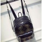 [ พร้อมส่ง ] - กระเป๋าเป้แฟชั่น นำเข้าสไตล์เกาหลี สีดำเงา ปักหมุดสุดเท่ ดีไซน์สวยเก๋ไม่ซ้ำใคร เหมาะกับสาว ๆ ที่ชอบกระเป๋าเป้ น้ำหนักเบามากๆค่ะ