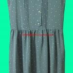 ขายแล้วค่ะ D4:Vintage dress เดรสสีเทาลายจุดขาว&#x2764