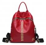 [ พร้อมส่ง ] - กระเป๋าเป้แฟชั่น สไตล์เกาหลี สีแดงเข้ม ปักหมุด X เก๋ ดีไซน์สวยเท่ๆ เหมาะสำหรับสาวๆ ที่ชอบเป้ใบกลางๆ เท่ๆ โดดเด่นไม่ซ้ำใคร