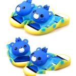 รองเท้าแตะเด็ก มีไฟส้นเท้า หมีสีฟ้าบีบหัวมีเสียง Size 24-25