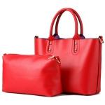 [ พร้อมส่ง Hi-End ] - กระเป๋าแฟชั่น ถือ&สะพาย Set 2 ชิ้น สีแดงโดนเด่น ใบใหญ่ + กระเป๋าใบกลาง ดีไซน์สวยเรียบหรู ไม่ซ้ำแบบใคร งานหนังคุณภาพอย่างดี