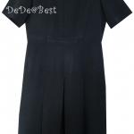 ขายแล้วค่ะ D22:Vintage dress เดรสวินเทจสีดำตีเกล็ดด้านหน้า แบบเรียบมีเสน่ห์&#x2764