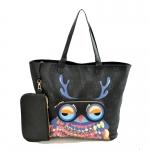 [ พร้อมส่ง ] - กระเป๋าแฟชั่น นำเข้าสไตล์เกาหลี แบบ A-za สีดำ  พิมพ์ลายนกฮูกสุดฮิต ทรง Shopping bag ใบใหญ่ดีไซน์น่ารัก เหมาะสำหรับทุกโอกาสการใช้งาน แถมกระเป๋าใบเล็ก 1 ใบ