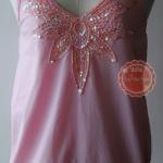T46:2nd hand top เสื้อสีชมพูปักเลื่อมสวย