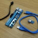 Riser card Adaptor PCI X1 to PCI X16 USB3.0 3ช่องไฟเลี้ยง สีฟ้า