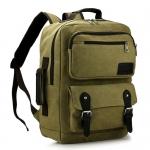 [ พร้อมส่ง ] - กระเป๋าเป้ ผู้ชาย-หญิง ดีไซน์เท่ ๆ สีกากี ใบใหญ่จุใจ ช่องใส่ของเยอะ ใส่ Notebook I-Pad ได้ เหมาะสำหรับพกพา