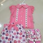 ชุดเด็กหญิง (เซต3ชิ้น) เสื้อ+กระโปรง+รองเท้า มีชมพู S. 12 เดือน