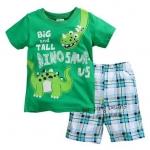 เซ็ตเสื้อแขนสั้น Dinosaurus +กางเกงขาสั้นลายสก๊อต *เขียว* ไซส์ 18M