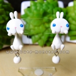 ต่างหูดินปั้น กระต่ายสีขาว Bunny white Earrings
