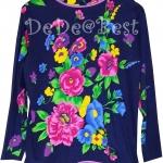 ขายแล้วค่ะ T58:Vintage top เสื้อวินเทจสีน้ำเงินลายดอกไม้&#x2764