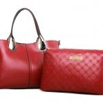 [ เปิดจอง พร้อมส่ง Hi-End 30/09/15 ] - กระเป๋าแฟชั่น นำเข้าสไตล์เกาหลี Set 2 ชิ้น สีแดงเข้ม ดีไซน์สวยเก๋ไม่เหมือนใคร งานหนังคุณภาพอย่างดี แบบสวยเรียบหรู ดูไฮโซสุดๆน่าใช้ คุ้มค่ามากๆค่ะ