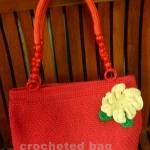 กระเป๋าถักเชือกร่ม ลายดอกหญ้าสีแดงสด