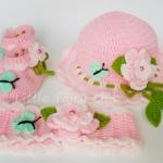 ชุดหมวก-รองเท้า-สายคาดผม 3 ชิ้น รุ่นผีเสื้อและดอกไม้