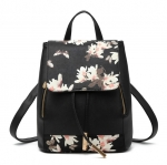[ พร้อมส่ง ] - กระเป๋าเป้แฟชั่น นำเข้าสไตล์เกาหลี สีดำพิมพ์ลายดอกไม้ ใบกลางๆ ทรงเก๋ ๆ ใบกลางสะพายหลัง หนังคุณภาพสวย น่ารักมากๆค่ะ