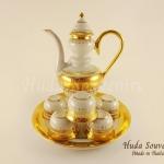 ของขวัญปีใหม่ให้ผู้ใหญ่ ชุดน้ำชาเบญจรงค์ ทรงสุโขทัย ขนาดกลาง ลายเบญจรงค์ทองสร้อย เคลือบเงา