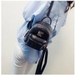 [ พร้อมส่ง ] - กระเป๋าเป้แฟชั่น สไตล์เกาหลี สีดำปักเลื่อมวิ้งส์ๆ ใบเล็กจิ๋วๆ กระทัดรัด พกพาง่าย ดีไซน์สวยเก๋ไม่ซ้ำใคร