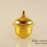 ของขวัญให้ผู้ใหญ่ โถเบญจรงค์ ขนาด 2 นิ้ว ลวดลายเบญจรงค์สีทองเต็มใบ