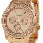 นาฬิกา Geneva Rose Gold Plated Classic Round CZ Ladies Boyfriend Watch