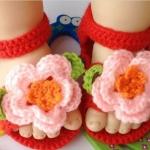 รองเท้าเด็กอ่อน ไหมพรมถัก Handmade รูปดอกไม้ สำหรับเด็ก 6-18 เดือน