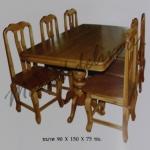 รหัส Maisak00202 ชุดโต๊ะกินข้าวไม้สัก 90X150X75 ซม. พื้นโต๊ะหนา 1 นิ้ว เก้าอี้ กว้าง 37 ซม. ยาว 37 ซม. สูง 95 ซม. โต๊ะกลาง กว้าง 90 ซม. ยาว 150 ซม. สูง 75 ซม.