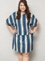 SET 2 ชิ้น เสื้อผ้าไซส์ใหญ่แขนล้ำผ้าชีฟองพิมพ์ลายทางน้ำเงินเขียว + กระโปรงผ้าชีฟองมีซับในเป็นกางเกง