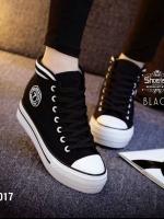 1017) Korea Strap Black&white ผ้าใบ ขอบยางยืด