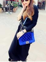 (Pre order)กระเป๋าแบรน Maomao Bag ผ้ากำมะยี่สีน้ำเงิน