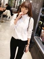 (Pre-order)เสื้อเชิ๊ตผู้หญิงแขนยาวสีขาวผ้า cotton 100%