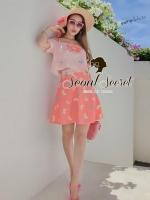 Set Pink Salmon Two Tone Dot and Bow Print Singlet & Skirt by Seoul Secret