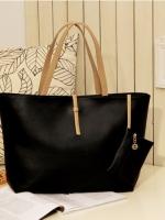 (พร้อมส่ง)กระเป๋าแฟชั่นเกาหลี หนัง PU สีดำ