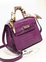 (Pre order)กระเป๋าถือพร้อมสายสะพายไหล่หนัง PU สีม่วง