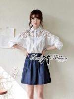 Lady Ribbon's Made Lady Eugene Pretty Flowery Laser Cut Cotton Shirt